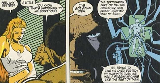 """I diritti dei fumetti di Terminator sono saltati ai Dark Horse Comics nel 1990, con una nuova trama denominata """"Storm"""" che ha introdotto tutti i nuovi personaggi e ancor più Terminator. La prima miniserie di Terminator ha avuto una trama continua con un mezzo umano, un ibrido Terminator ibrido di nome Dudley, che si ribella contro il controllo di Skynet e si schiera con i membri della resistenza che hanno viaggiato indietro nel tempo. Dudley ha anche una storia d'amore con il leader della resistenza, Mary Randall. Tuttavia, gli impianti Terminator infine riprendono il controllo e Dudley è costretto a sospendere se stesso per proteggere Maria. La catena di eventi alla fine porta alla nascita di Jane Connor, la cui esistenza ha cambiato la timeline. Jane Connor ha continuato a svolgere lo stesso ruolo che John Connor aveva in lotta per l'umanità contro la Skynet. La Dark Horse ha pubblicato la maggior parte dei fumetti di Terminator."""