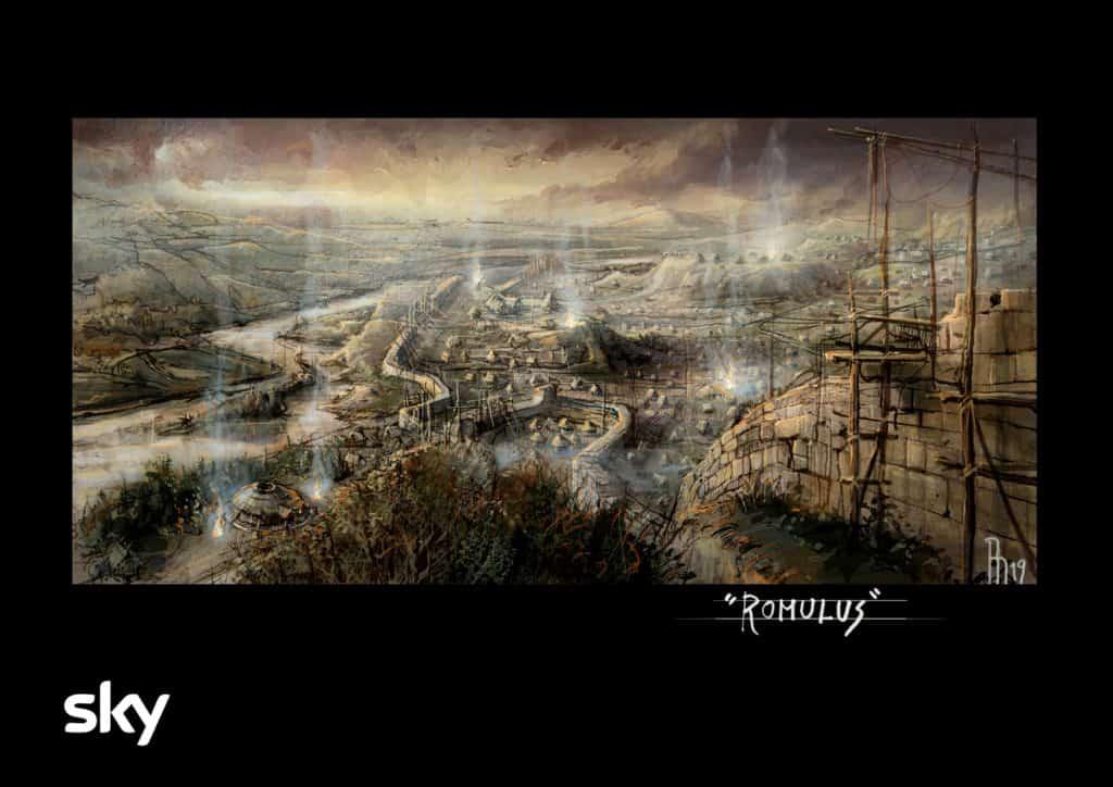 l'illustrazione di riccardo monti art director mostra una delle ambientazioni di romulus che saranno rico4161
